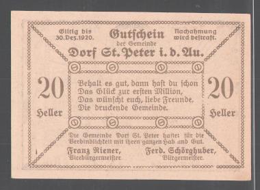 Notgeld St. Peter in der Au 1920, 20 Heller, Bauer mit Sense schaut sich den Sonnenuntergang an 1