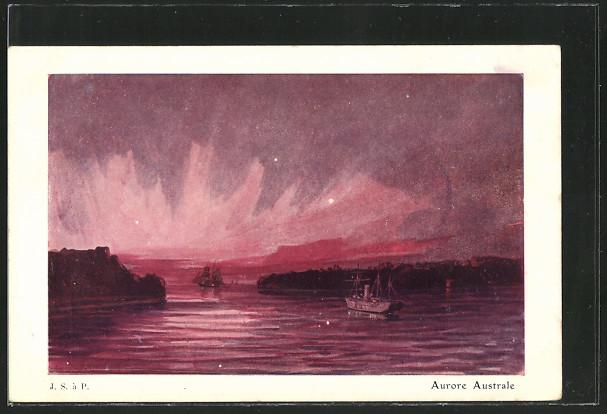 AK Naturwunder, Aurore Australe, Schiffe auf dem Wasser 0