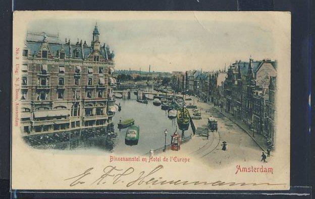 Relief-AK Amsterdam, Binnenamstel en Hotel de l`Europe 0