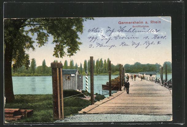 AK Germersheim, Partie an der Schiffbrücke 0