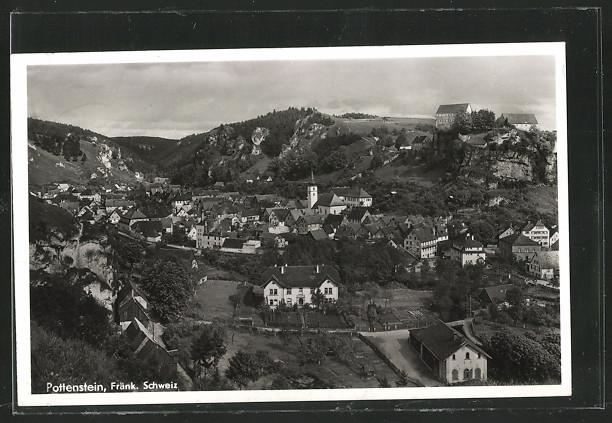 AK Pottenstein, Blick über die Ortschaft mit Burgruine 0