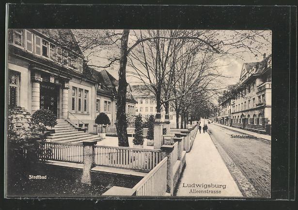 AK Ludwigsburg, Alleenstrasse, Stadtbad, Soldatenheim 0