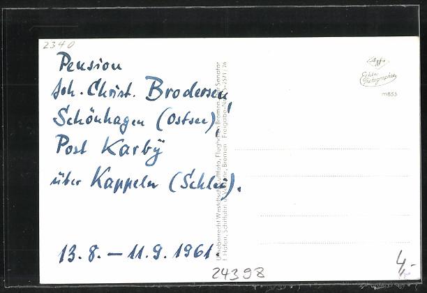AK Schönhagen, Fliegeraufnahme vom Pensionat Brodersen 1
