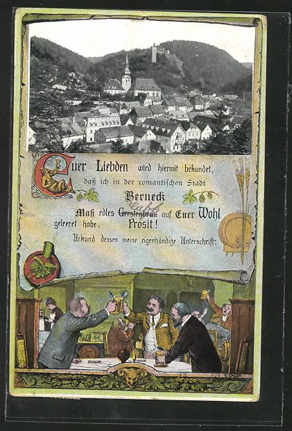 AK Berneck, Trinkende Männer in der Gaststube, Blick über den Ort mit Kirche, Brauerei 0