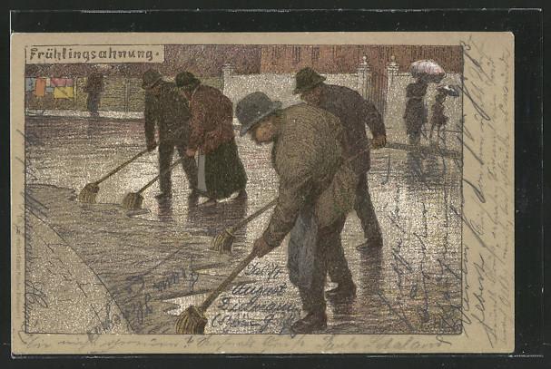 Künstler-AK P. Hey: Lithographie Frühlingsahnung, Männer räumen die Strasse frei 0