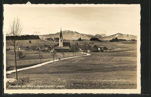 AK Markt-Oberdorf, Panorama des Ortes vom Wald aus gesehen 0