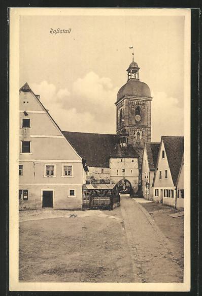 AK Rosstal, Ortsansicht m. Rathaus 0