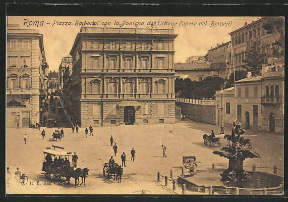 AK Roma, Piazza Barberini con la Fontana del Tritone, opera del Bernini 0