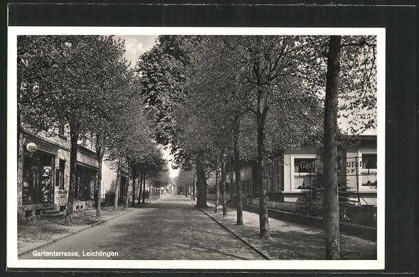 AK Leichlingen, Gartenstrasse mit Friseurgeschäft & Gartenrestaurant Tannenhof  0