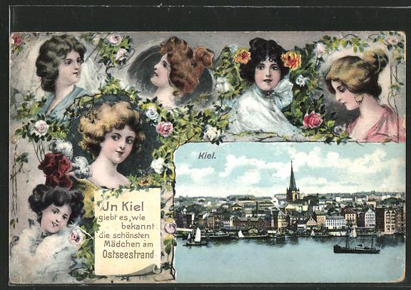 AK Kiel, Stadtansicht, Mädchenporträts 0
