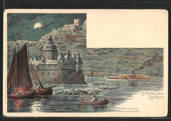 AK Caub, Segelboote & Dampfer vor der Burg Pfalzgrafenstein 0