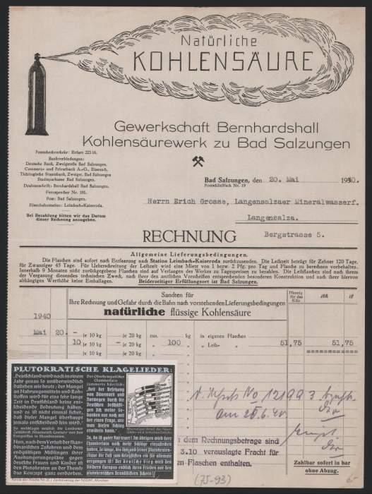 Rechnung Bad Salzungen 1940, Gewerkschaft Bernhardshall, Kohlensäurewerke, Flasche, Kohlensäurewolke, Aufkleber 0