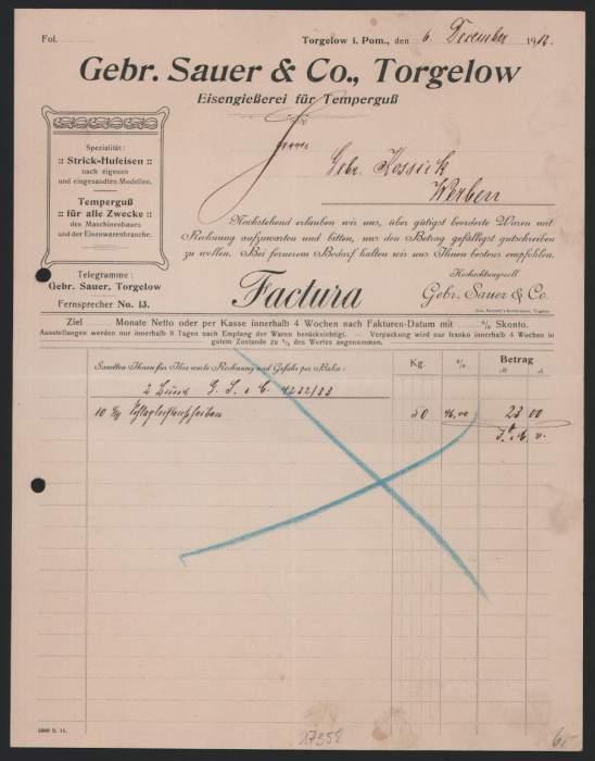 Rechnung Torgelow 1912, Gebrüder Sauer & Co., Eisengiesserei für Temperguss 0