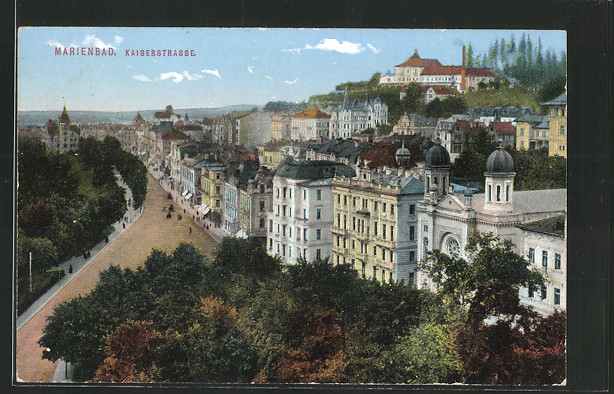 AK Marienbad, Kaiserstrasse mit Synagoge 0