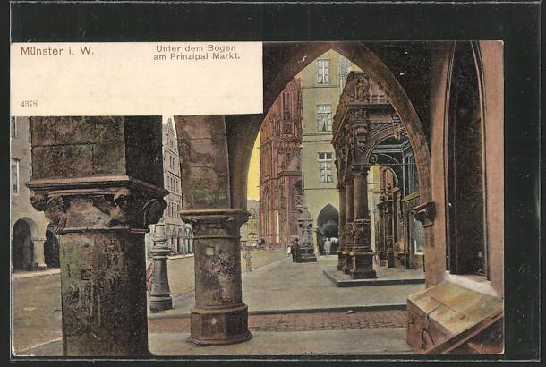 AK Münster, unter dem Bogen am Prinzipalmarkt  0