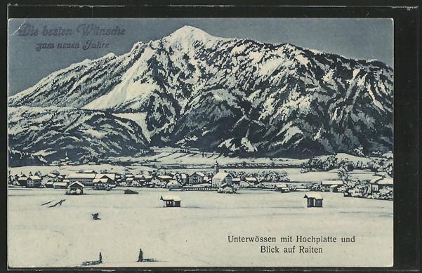 AK Unterwössen, Gesamtansicht im Winter mit Hochplatte u. Blick auf Raiten 0