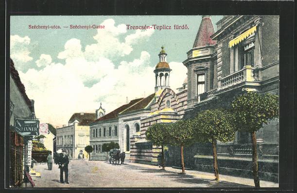 AK Trencsen-Teplicz, Szechenyi-Gasse mit Synagoge 0