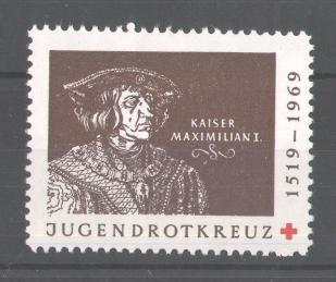 Reklamemarke Jugend-Rotkreuz, Portrait Kaiser Maximilian I.  0