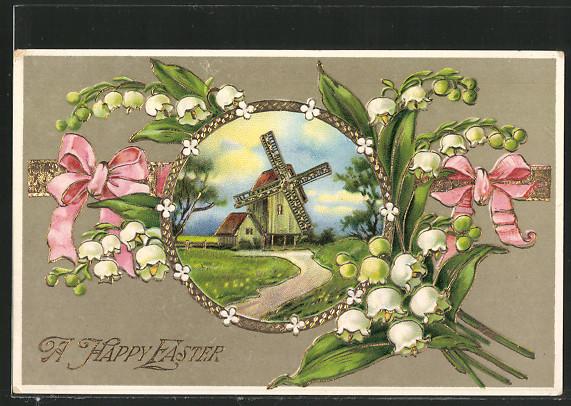 AK Maiglöckchen zieren Bild von Windmühle 0