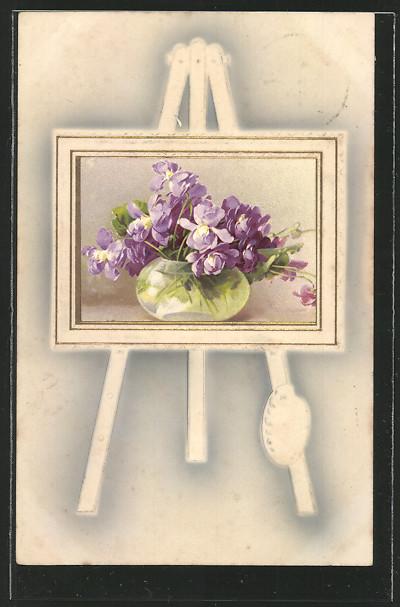 Präge-AK Gemälde von Veilchen in einer Vase  0