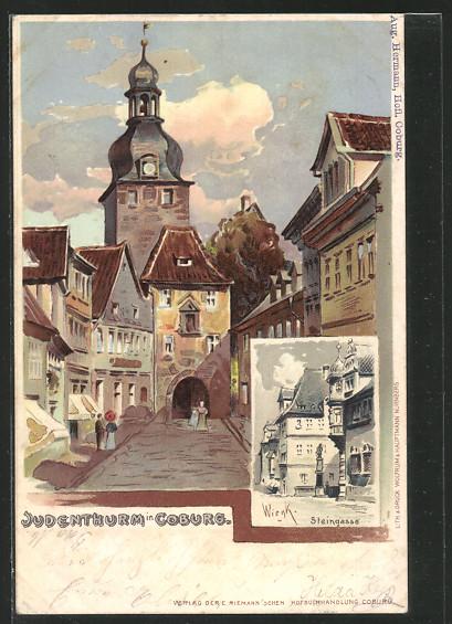 Künstler-AK Coburg, Judenturm, Steingasse 0