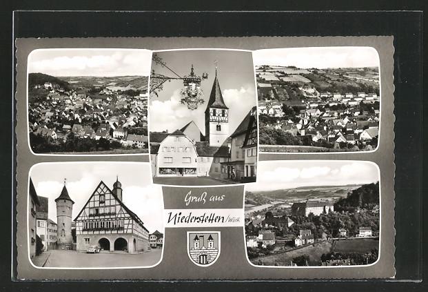 AK Niederstetten, Kirche, Ortspartie mit Turm, Ortsansichten 0