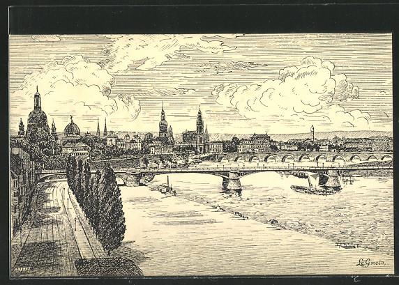 AK Dresden, Blick über die Carolabrücke, Dampfer 0