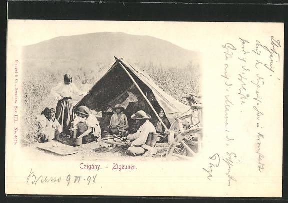 AK Zigeuner unter ihrem Zelt beim Kochen um 1900 0