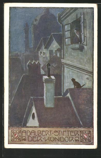 Künstler-AK Ernst Kutzer: Blick über die Dächer, \