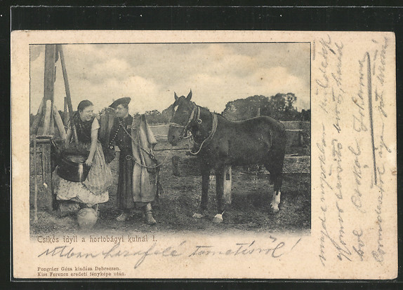 AK Csikos idyll a hortobagyi Kutnal I., ungarische Bauern in traditioneller Kleidung am Brunnen 0