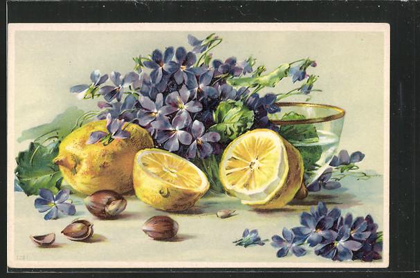 AK Zitronen mit Haselnüssen und in Wasserschale befindlichen Blumen 0