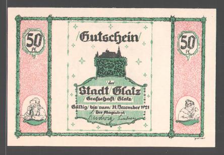 Notgeld Glatz, 1921, 25 Pfennig, Glatzer Volkslied, Liedzeile, Waage 0