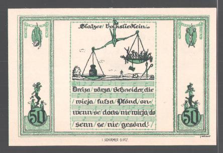 Notgeld Glatz, 1921, 25 Pfennig, Glatzer Volkslied, Liedzeile, Waage 1
