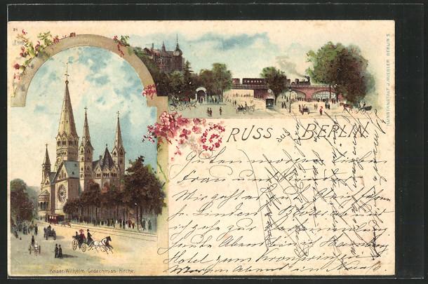Lithographie Berlin-Charlottenburg, Kaiser-Wilhelm-Gedächtnis Kirche, Ortspartie 0