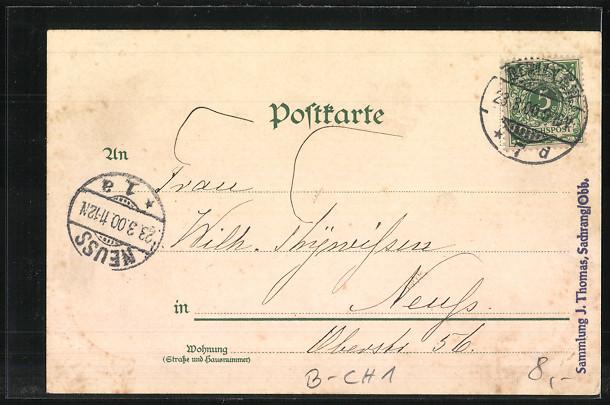 Lithographie Berlin-Charlottenburg, Kaiser-Wilhelm-Gedächtnis Kirche, Ortspartie 1