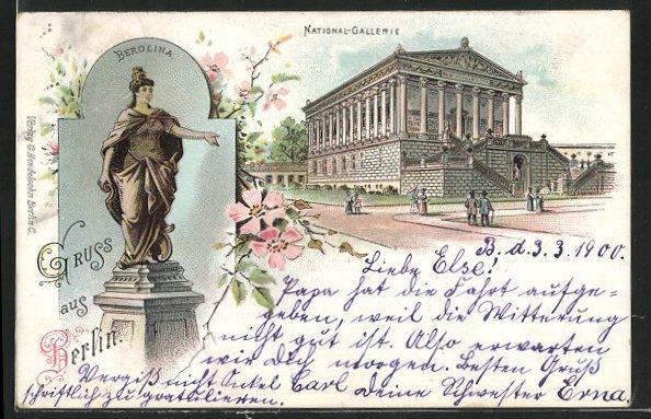 Lithographie Berlin, National-Galerie, Berolina um 1900 0