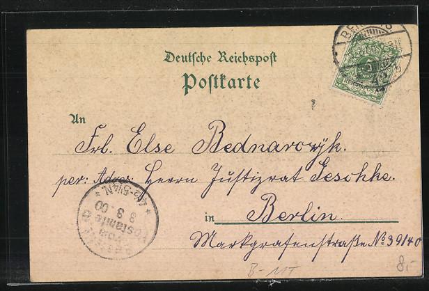 Lithographie Berlin, National-Galerie, Berolina um 1900 1