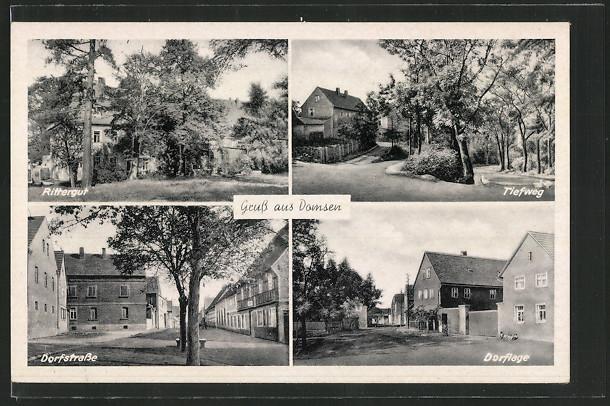 AK Domsen, Rittergut, Tiefweg & Dorfstrasse 0