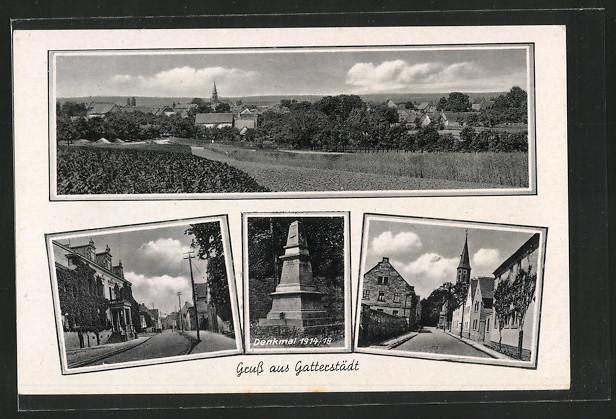 AK Gatterstädt, Ortsansicht, Denkmal 1914/1918, Strassenansichten 0
