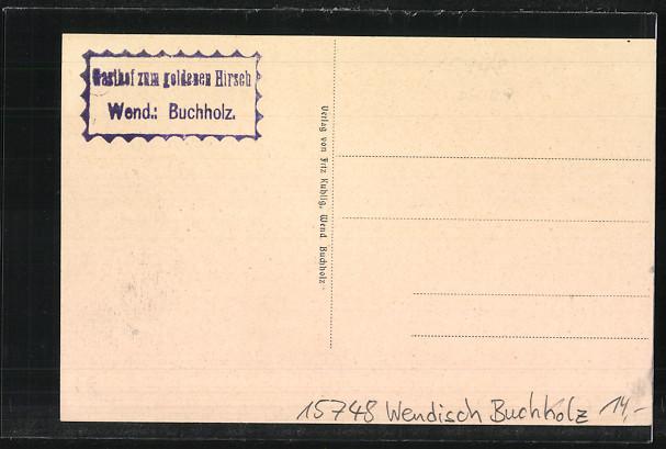 AK Wendisch Buchholz, Marktplatz mit Kindern, Rathaus 1