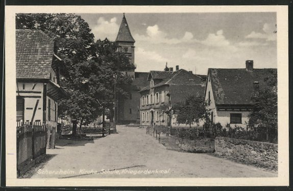 AK Scherzheim, Kirche, Schule, Kriegerdenkmal 0