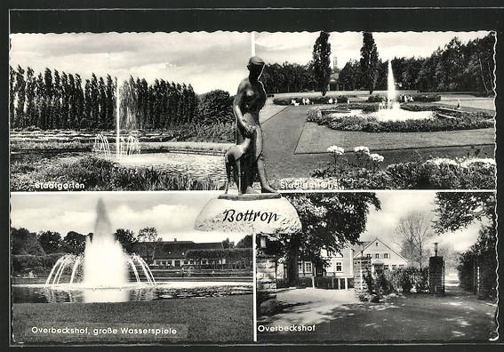 AK Bottrop, Overbeckshof, Stadtgarten und  Grosse Wasserspiele 0