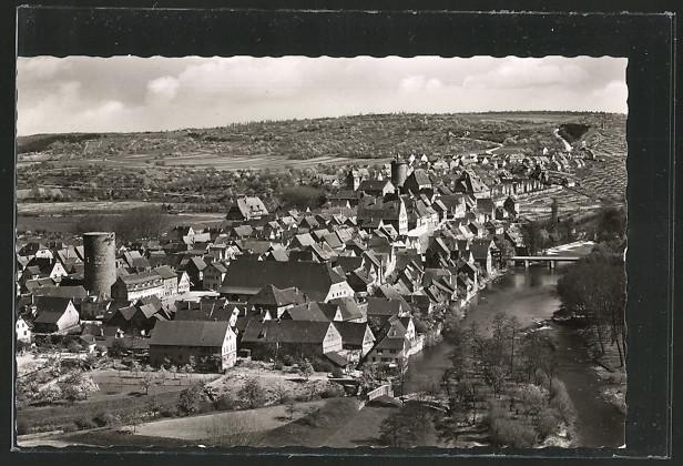AK Besigheim, Gesamtansicht mit Neckarbrücke 0