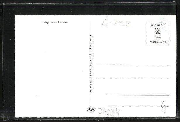 AK Besigheim, Gesamtansicht mit Neckarbrücke 1