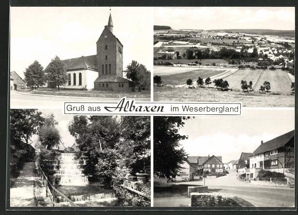 AK Albaxen, Wasserfall, Pfarrkirche und Marktplatz 0