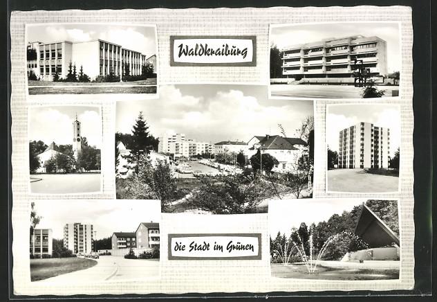 AK Waldkraiburg, Kirche, Strassenansicht, Teich mit Wasserspiel 0