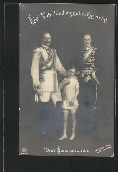 AK Kaiser Wilhelm II. von Preussen mit seinem Sohn & Enkelsohn 0