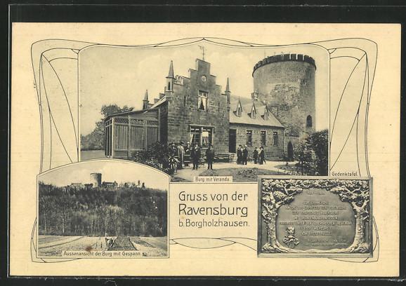 AK Borgholzhausen, Ravensburg, Burg mit Terrasse, Aussenansicht der Burg mit Gespann, Gedenktafel 0