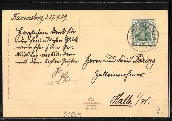 AK Borgholzhausen, Ravensburg, Burg mit Terrasse, Aussenansicht der Burg mit Gespann, Gedenktafel 1