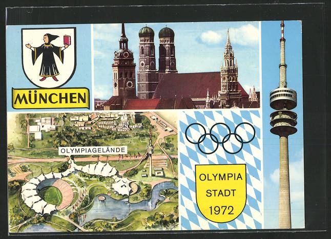 AK München, Olympiade 1972, Olympiaturm, Gelände, Wappen und Kirchen 0